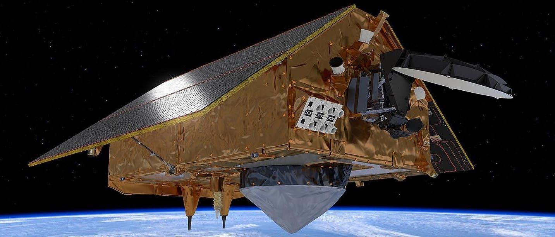 Die Computeranimation zeigt Satellit »Sentinel 6« im Orbit.