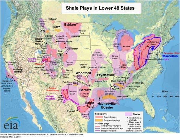 Schiefergasfelder in den USA