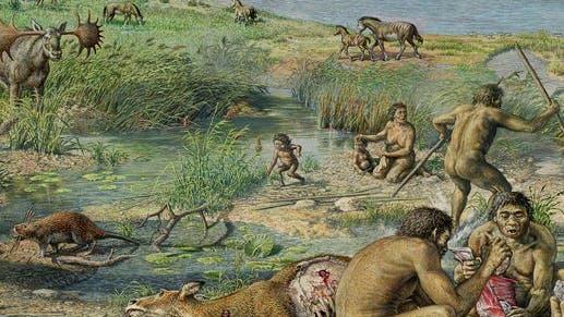 Rekonstruierte Szene aus dem Leben der ersten Siedler in Happisburgh vor rund 800 000 Jahren