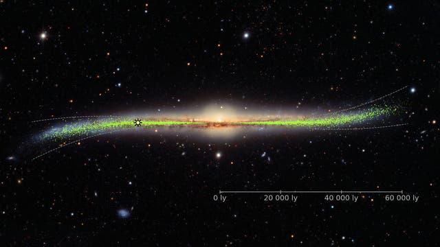 Da guckt man mal ne Milliarde Jahre nicht hin, und plötzlich ist die Galaxie krumm!