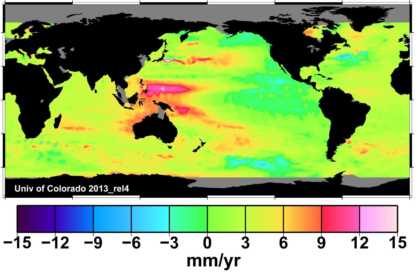 Anstieg des Meeresspiegels zwischen 1993 und 2012