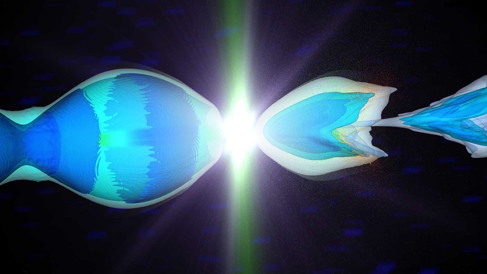 In einer Computersimulation stoßen Elektronen und Positronen zusammen, die zuvor von Plasmafeldern beschleunigt wurden.