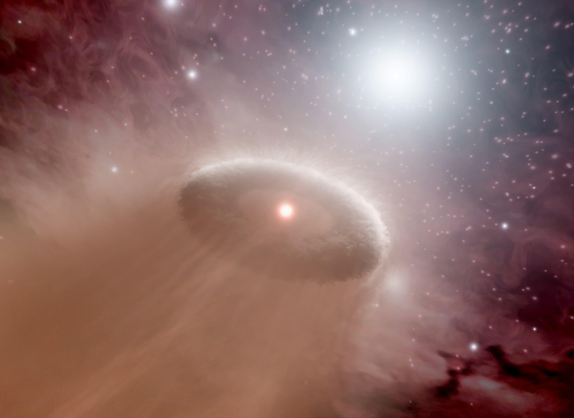Künstlerische Darstellung einer verdampfenden protoplanetaren Scheibe um einen jungen Stern