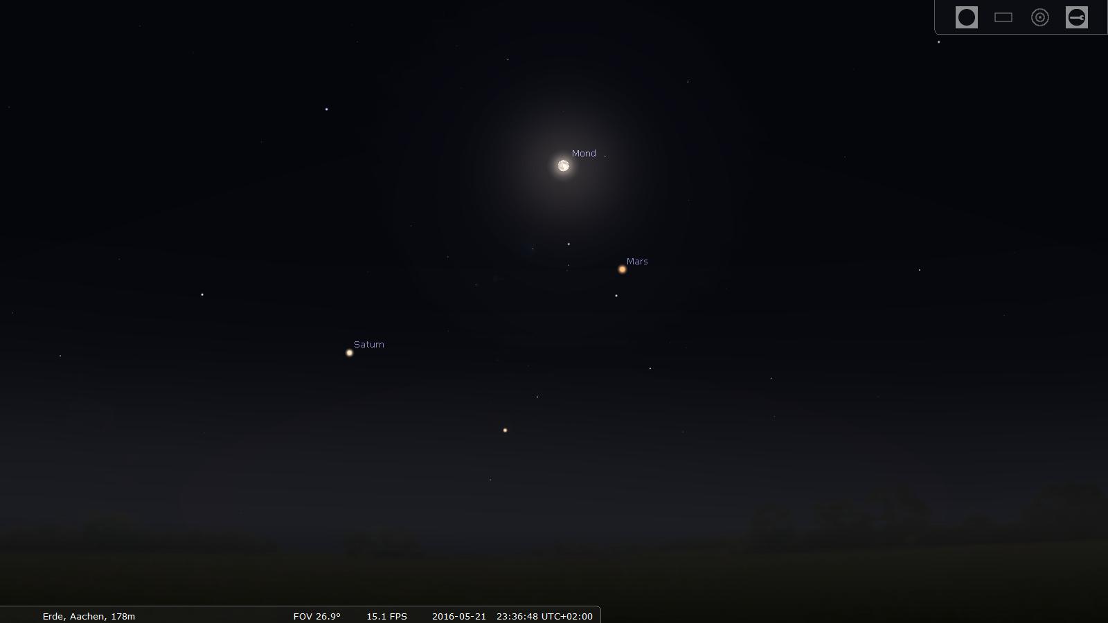 Saturn und Mars begleiten den Mond (Übersichtsbild)