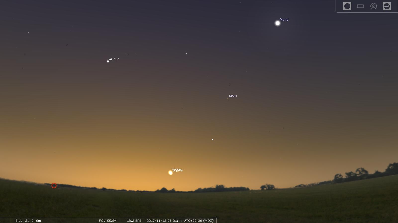 Jupiter und Venus am Morgenhimmel