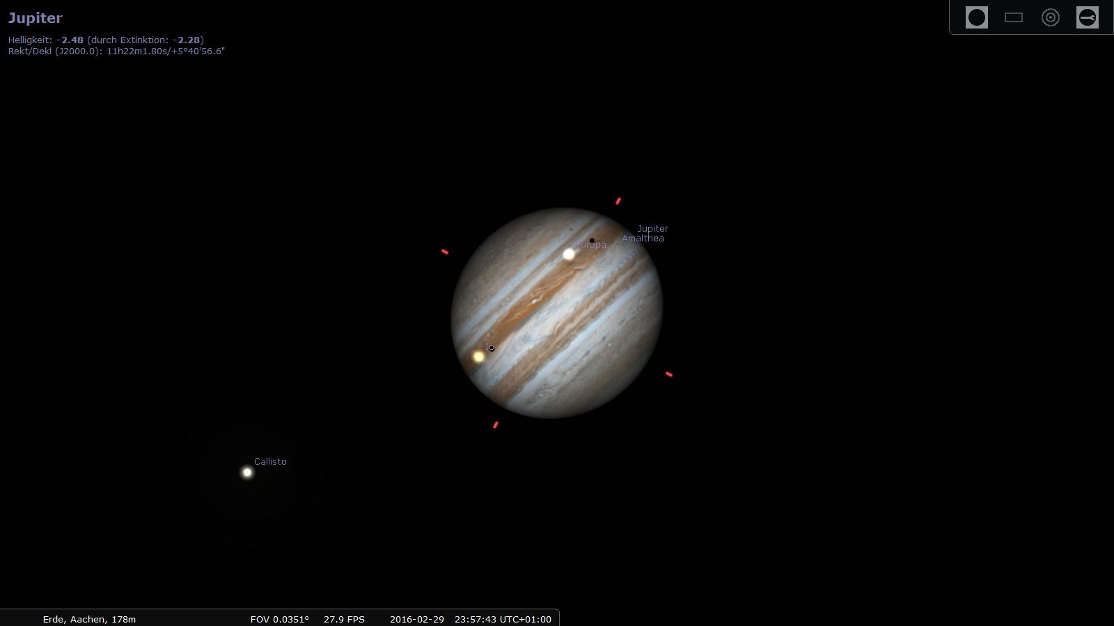 Jupiter am 29. Februar 2016