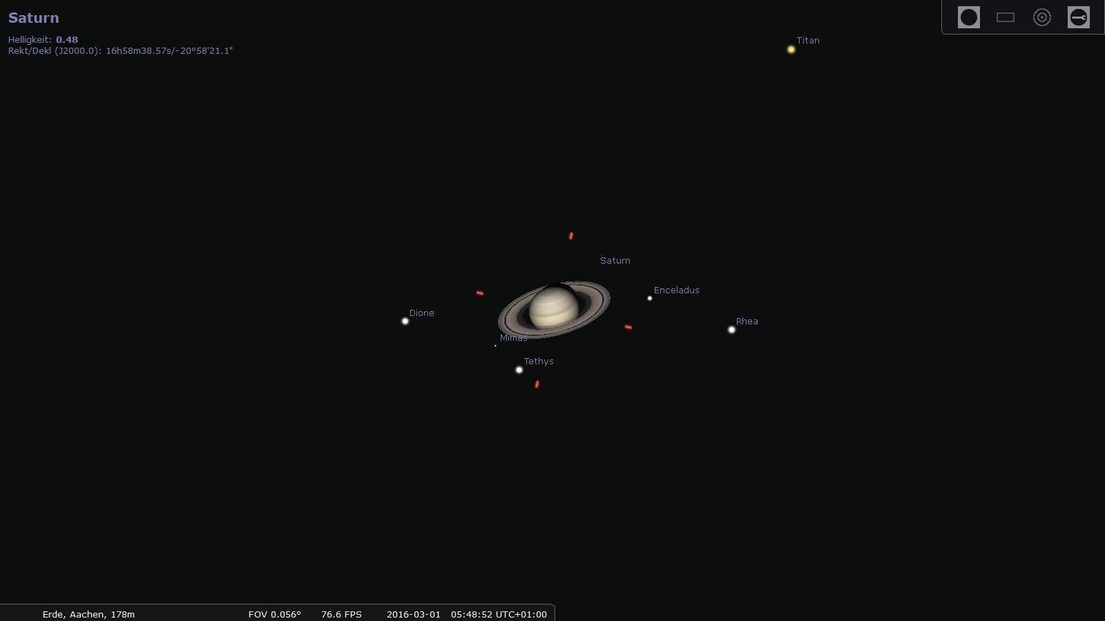 Saturn am 1. März 2016