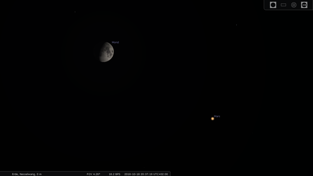 Konjunktion von Mars und Mond