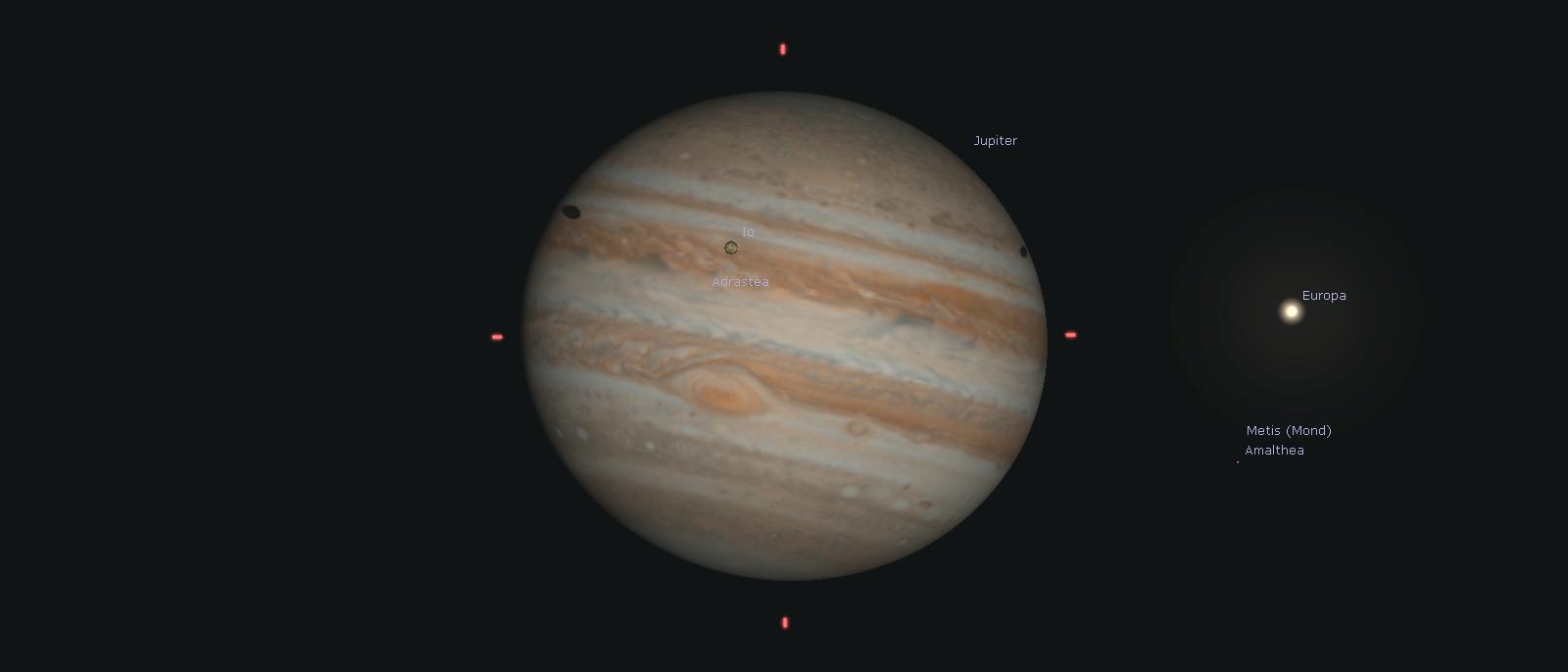 Jupiter mit Monden und Schatten