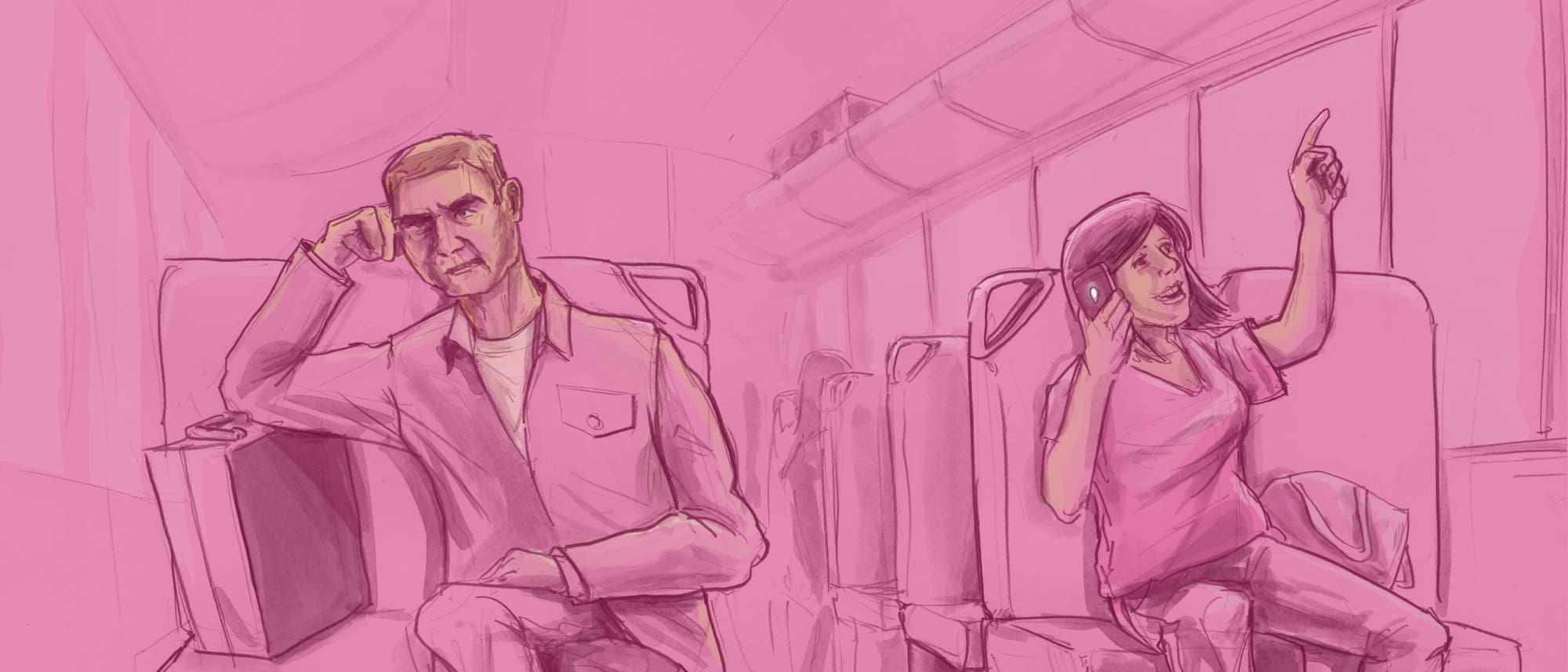 Illustration von Reisenden in der Bahn: Eine Frau telefoniert fröhlich, ein Mann guckt genervt