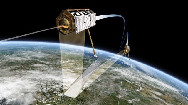Die Radarsatelliten TANDEM-X und TerraSAR-X im Formationsflug