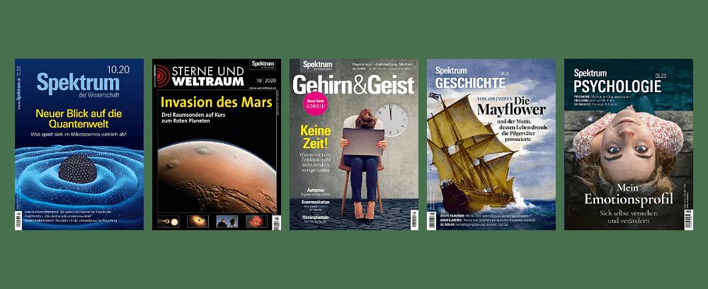 Abbildung Cover Spektrum der Wissenschaft, Gehirn&Geist, Spektrum Psychologie, Spektrum Geschichte