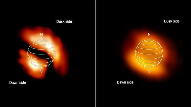 Schiefe Wolken auf Titan