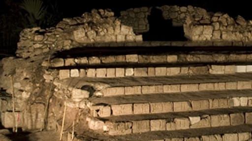 Seltener Fund einer Hieroglyphentreppe