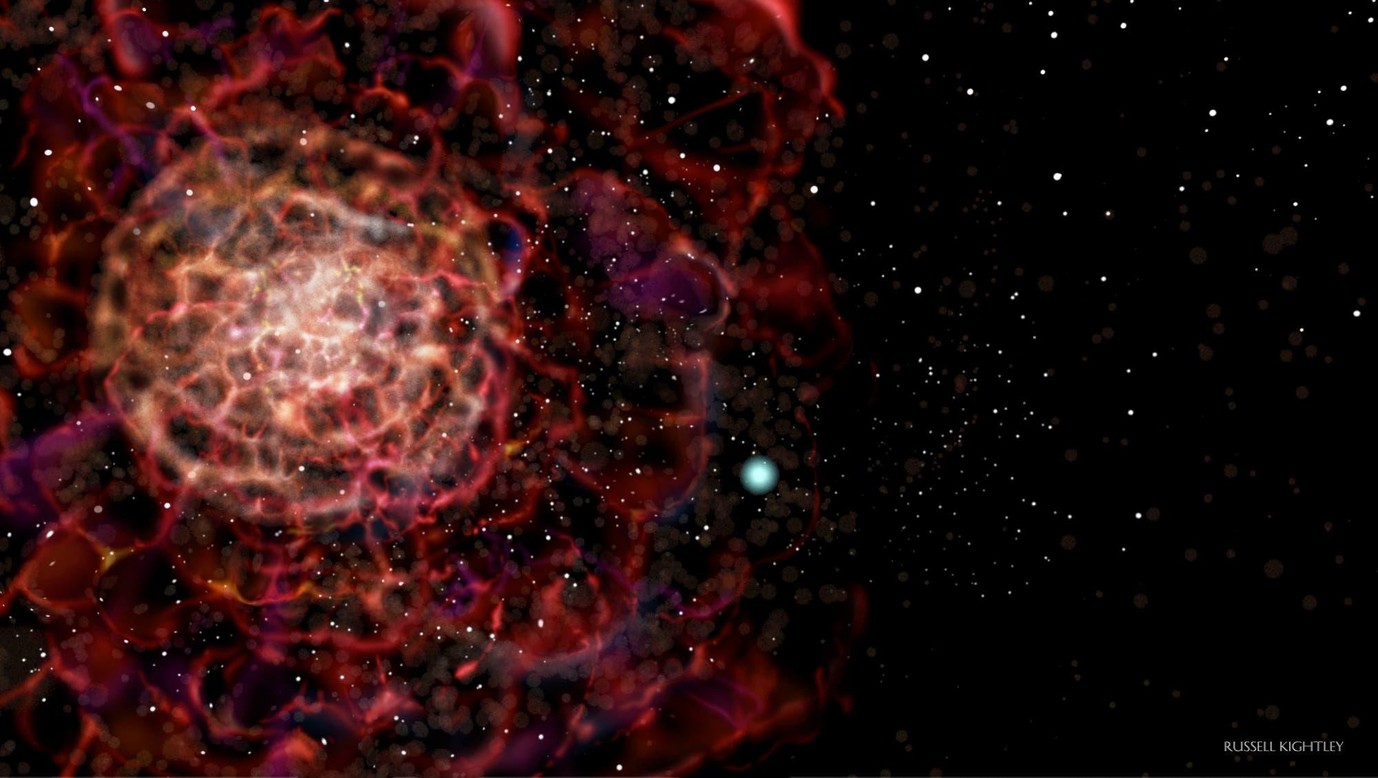 Das System LP 40-365 nach der Supernova-Explosion (künstlerische Darstellung)