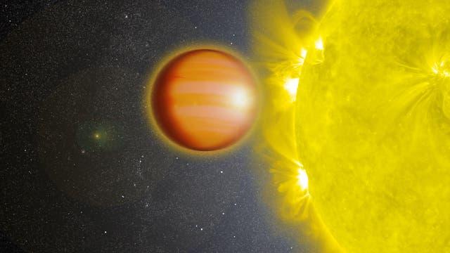Der Exoplanet WASP-18b vor seinem Stern