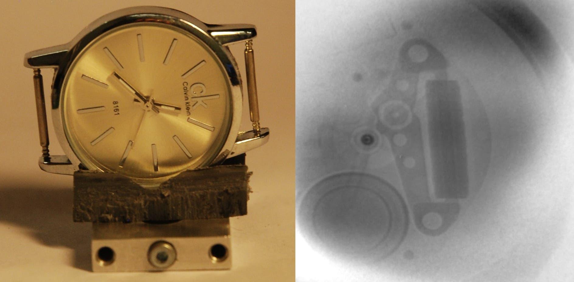 Mit Protonen durchleuchtete Uhr