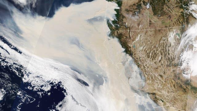 Satellitenbild der Rauchschwaden