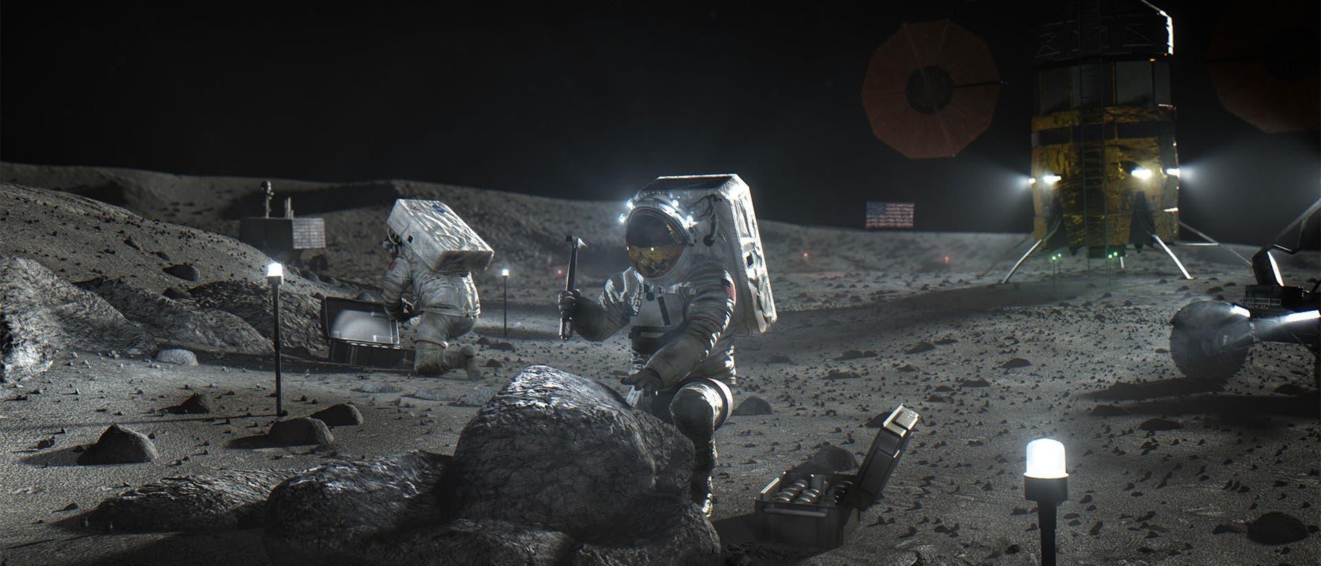 Künstlerische Darstellung der geplanten Mondlandung der NASA