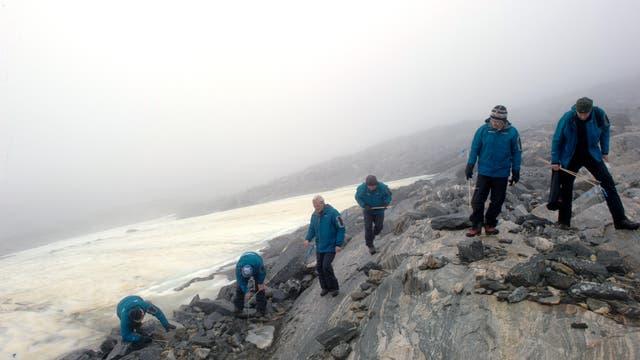 Gletscherarchäologen in Norwegen, die nach alten Funden entlang eines Eisflecks suchen