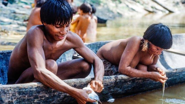 Yanomami säubern Fische am Flussufer