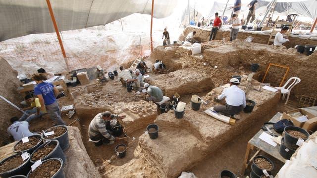 Blick auf die Ausgrabungsstätte in Nesher Ramla