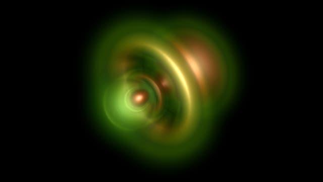 Die Aufenthaltswahrscheinlichkeit des verbliebenen Elektrons in einer grafischen Darstellung (je heller, desto höher die Aufenthaltswahrscheinichkeit)
